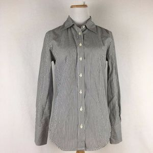 J.Crew Women's Slim Fit Navy Striped Shirt